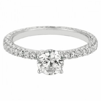 Mervis Collection hand engraved Engagement Ring DERM5XSQ-AENG-F-5.7RD