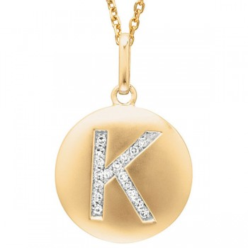 Disc Initial Letter K Necklace