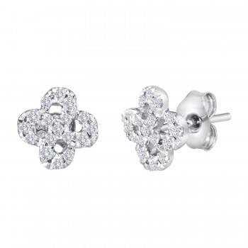 Diamond Swirly Clover Earrings