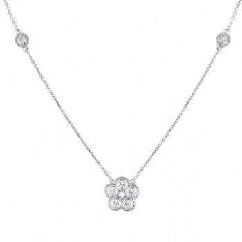 .40 Carat Flower Diamond Necklace