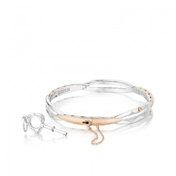 Tacori Promise Bracelet Round Rose Gold and Silver