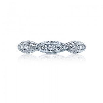 Tacori Classic Crescent Collection Platinum and Diamond band 2578B
