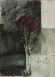 Black and white red roses web image