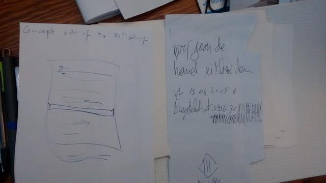 2005 wij gaan de hemel uitbreiden   lets expand the sky. note on his desk