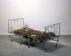 Berenhaut marianne berenhaut le lit vie prive  e series 2000 metal bed quilted with seaweed dried 5 bubbles of glasses mattress 75.5 x 87.5 x 190 cm unique