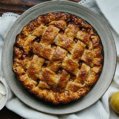 Pear Pie with Creme Fraiche Caramel