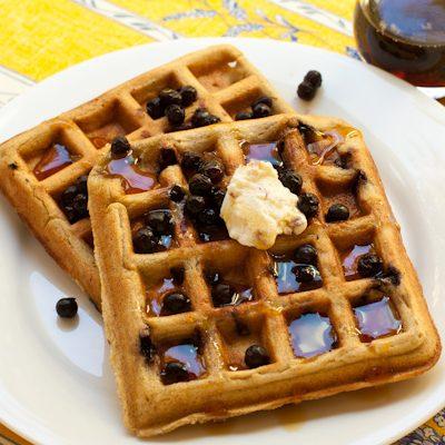 Gluten-free blueberry-Oat Waffles