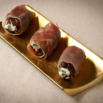 Prosciutto-wrapped dates with cream cheese and jalapeno | Appetizer