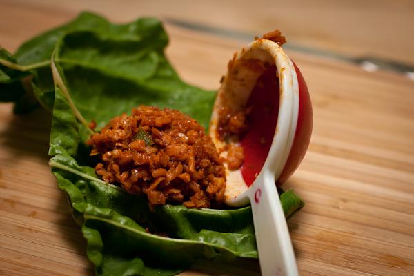 Bo La Lot filling Swiss chard leaves vegan recipe