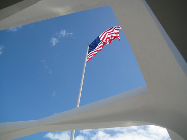 Flag Over the Arizona Memorial, Pearl Harbor