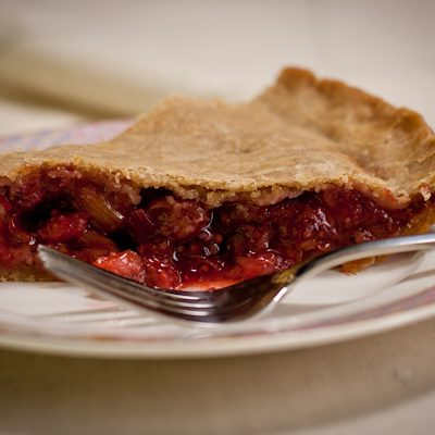 Strawberry-rhubarb-cherry pie