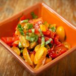 Roasted red pepper yellow tomato salad