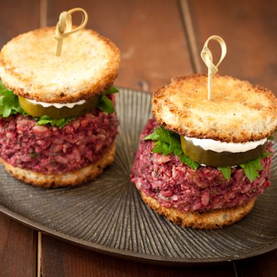Beet and brown rice sliders