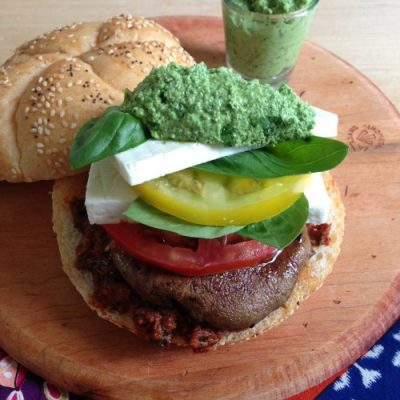 Veggie Caprese burger: A Dog Days of Summer post by @CalGreekGirl
