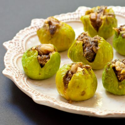 Exotic stuffed figs with walnuts, cardamom, and pomegranate molasses