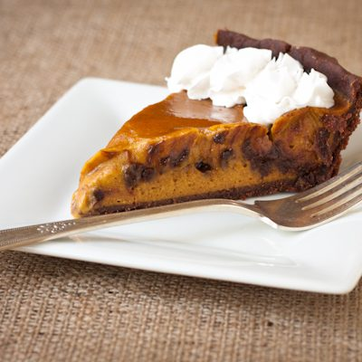 Chocolate pumpkin pie with chipotle