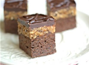 Cookie dough topped brownies from Ricki Heller | Month O' Cookies on Recipe Renovator