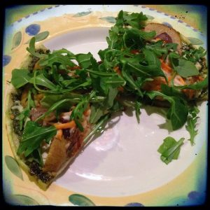 Plum arugular and grilled pear pizza | Cookbook review from Recipe Renovator
