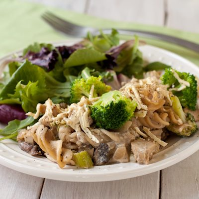 "Creamy ""chicken"" and broccoli casserole"