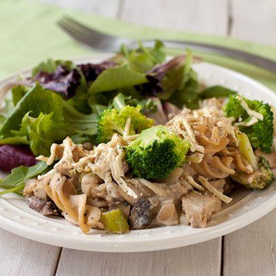 """Creamy """"chicken"""" and broccoli casserole"""