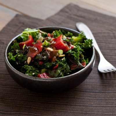 Spicy kale and Swiss chard sauté