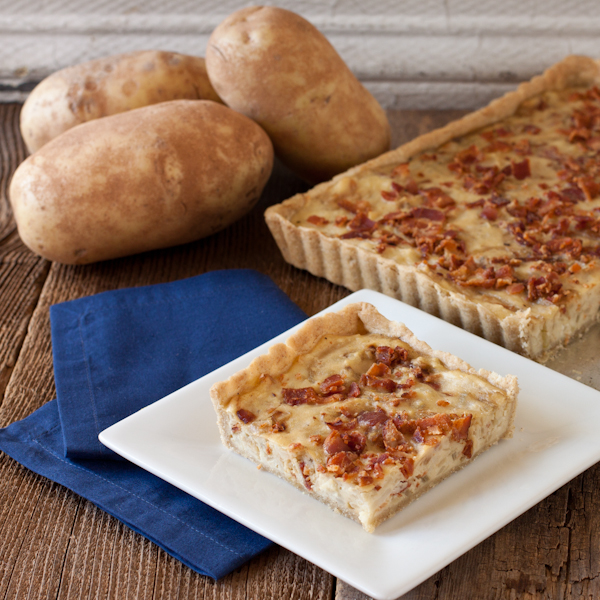 Idaho Potato tart with crispy bacon and caramelized shallots