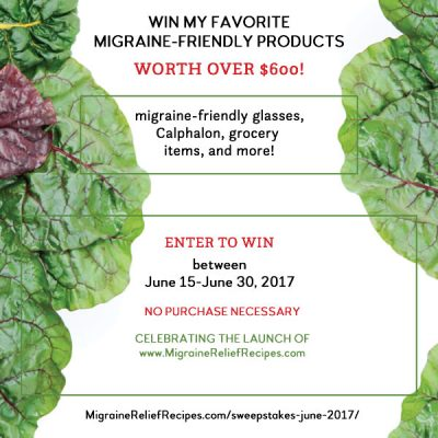 Giveaway to celebrate my new site Migraine Relief Recipes