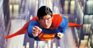 Christopher reeve as superman flying