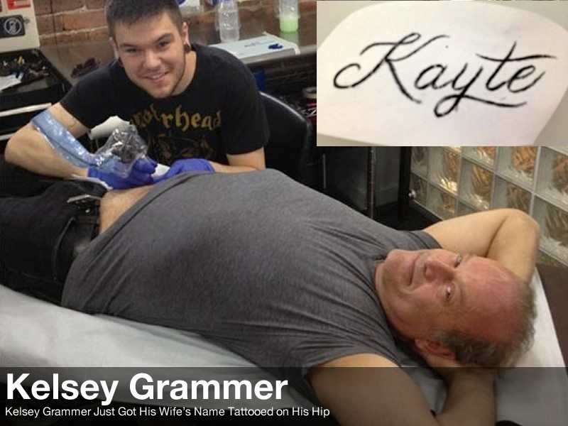 Kelsey Grammer gets his Wife's Name Tattoo