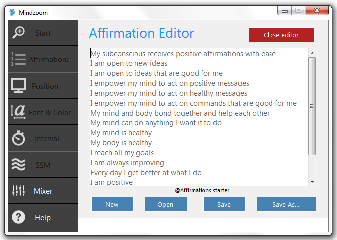 Affirmations editor
