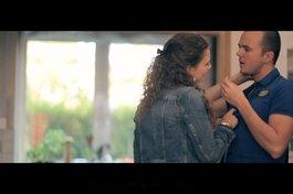 With on-screen boyfriend Darren Jefferies in Cardboard Andy