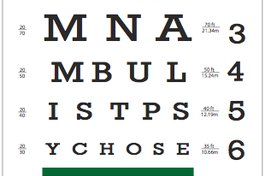 "An eye-chart with a subliminal message. Designed for ""Motion Sickness"":http://debprado.mixform.com/projects/51-motion-sickness © Debora Prado 2009"