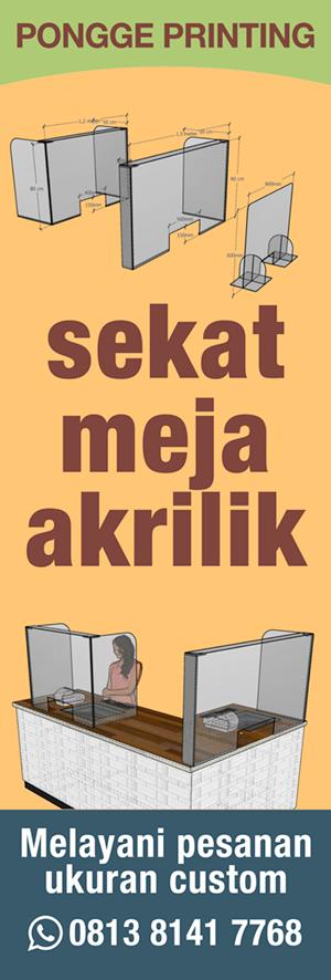 Sekat Meja Akrilik di Manado - Pongge Printing