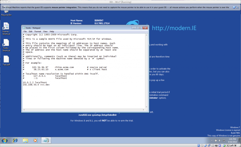 IE VM Hosts File