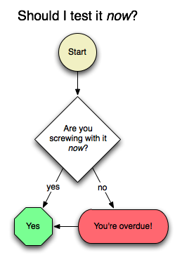 Shoud I test it now? flow chart