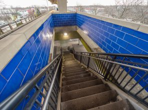 New Blue Tiling at Bellmore Station Stairways 01-29-19