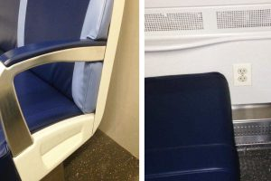 New M9 Rail Car Armrest and Electrical Outlet