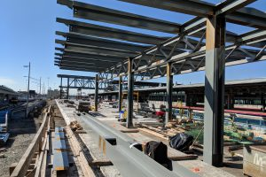 Jamaica Capacity Improvements - Erection of Platform Canopy Steel in Progress 10-23-18