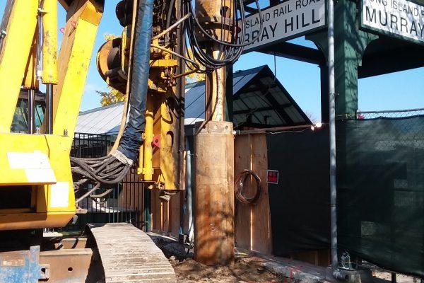 Augering for H piles EB platform