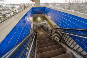 New Blue Tiling at Bellmore Station Stairways - 01-29-19