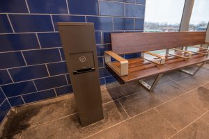 USB Charging Station and New Bench in Platform Waiting Room at Merrick Station - 01-29-19