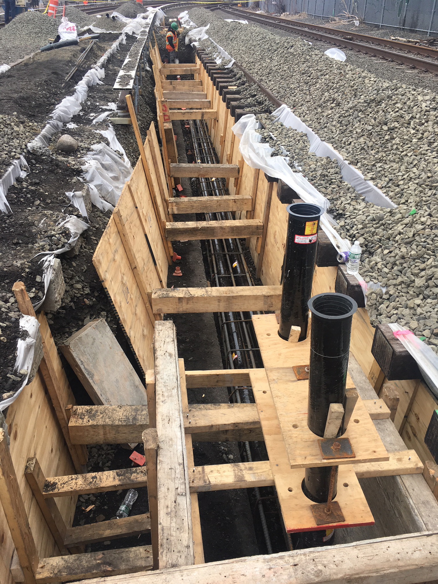 Installed rebar and conduit for the negative traction power ductbank for the future Mid-Day Storage Yard in Queens. 04-12-19