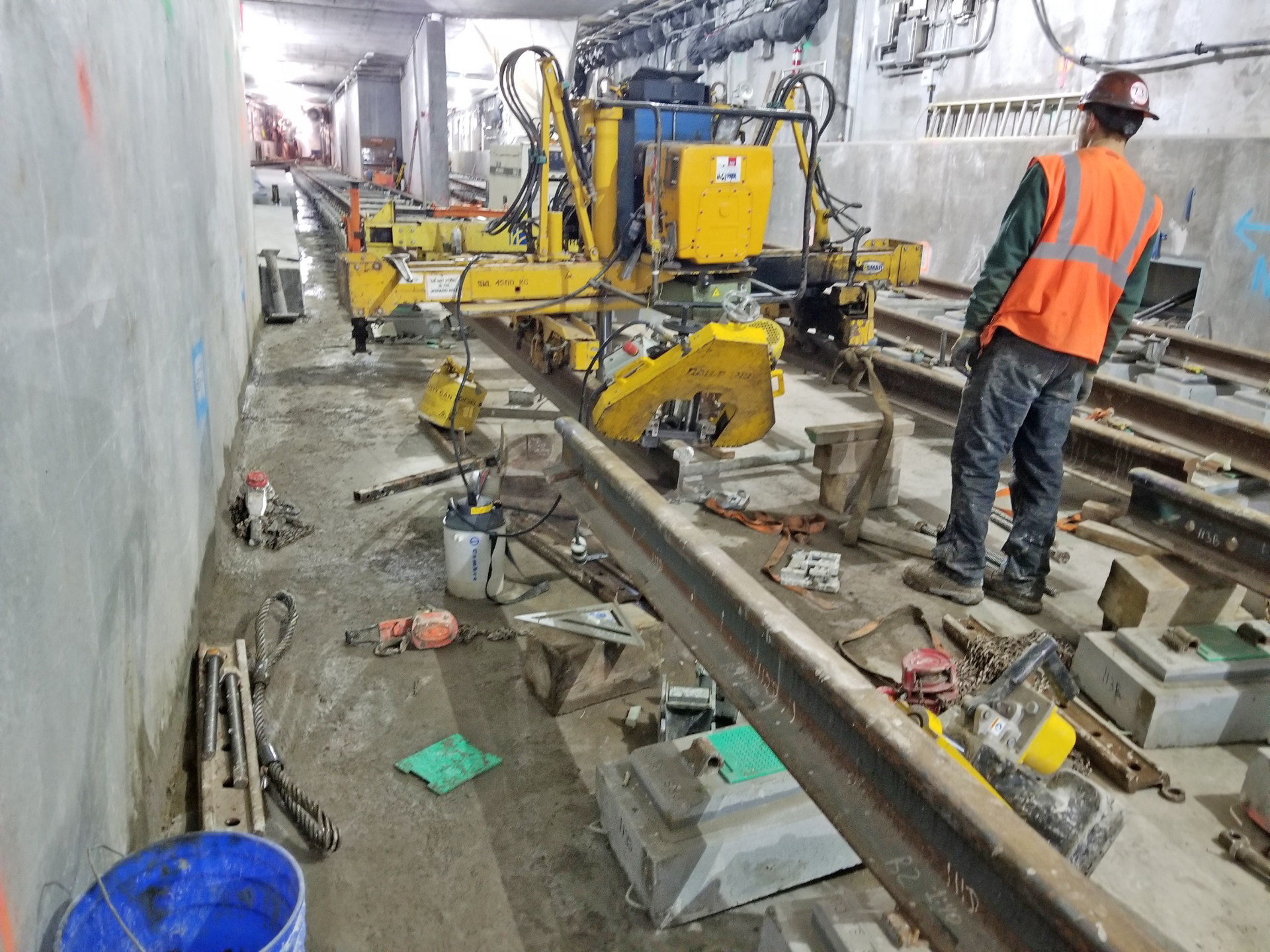 Lifting rail to pour concrete slab that embeds the pre installed resilient tie blocks. 04-19-19