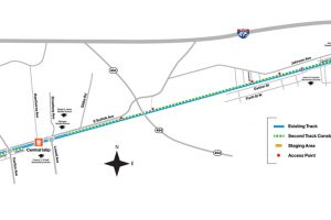 Detailed Double Track Project Map: Phase 1 (west to east)