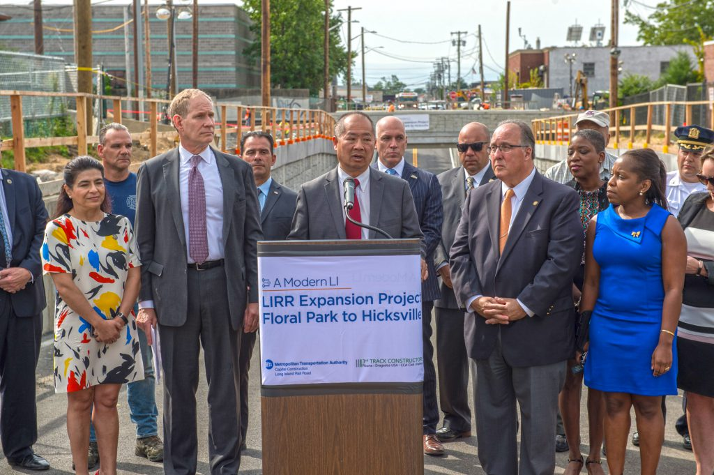 LIRR President Phil Eng addresses New Cassel community during the September 5th reopening of Urban Avenue that now allows vehicular traffic to cross under the LIRR tracks, avoiding delays from downed gates, noise from passing trains and reduced air quality from queueing automobiles.