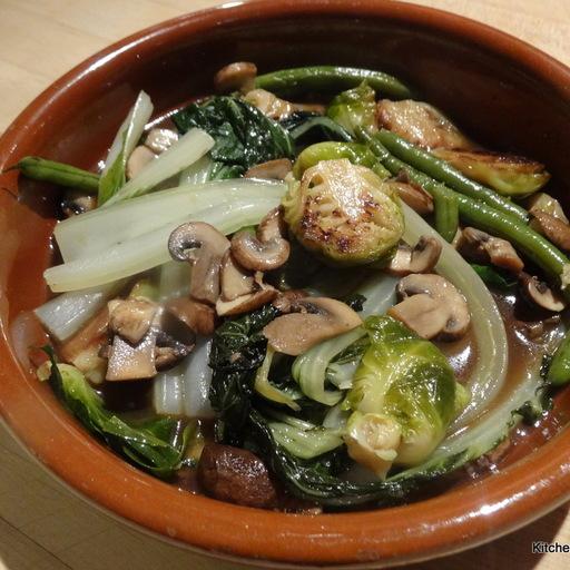 Braised Bok Choy with Shiitake Mushrooms, Ginger and Garlic