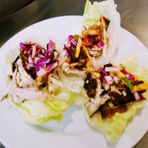Fish Lettuce Wrap with Cabbage and Pineapple Salsa