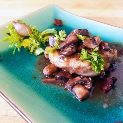 Bistro Chicken in a Wine, Cognac and Mushroom Sauce