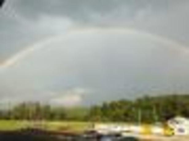 Rainbow over hymn sing
