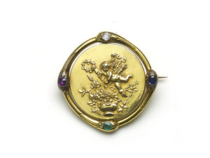 French Gold Spinning Brooch